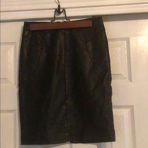 Ann Taylor Petite Leather Pencil Skirt NWT